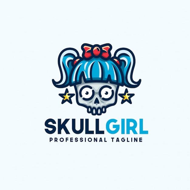 Schedel meisje logo sjabloon Premium Vector