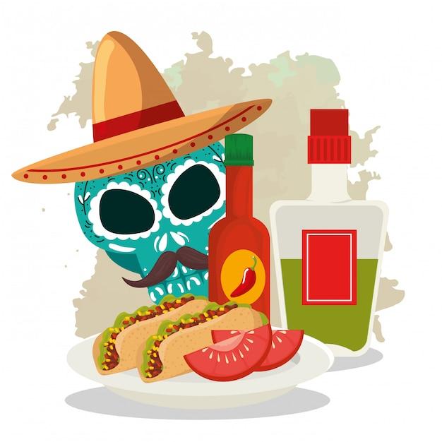 Schedel met hoed en taco's tot dag van de dode viering Gratis Vector