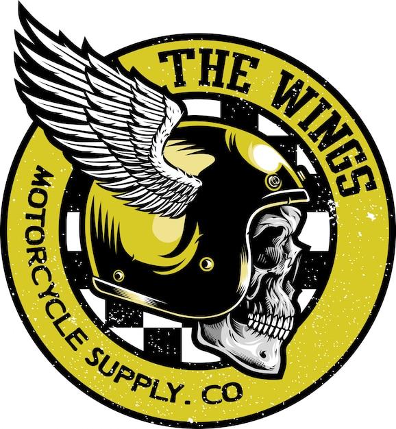 Schedel met klassieke helm vector logo Premium Vector