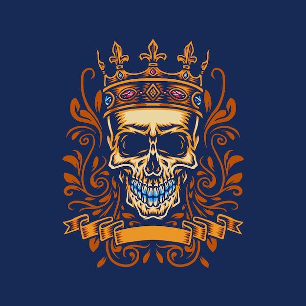 Schedel met koningskroon, hand getrokken lijn met digitale kleur, illustratie Premium Vector