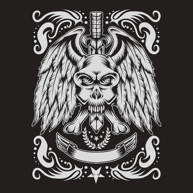 Schedel monster decoratie Premium Vector