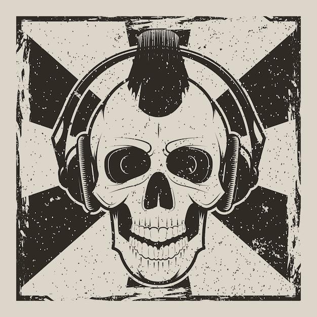 Schedel muziek punk vintage grunge Premium Vector