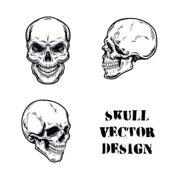 Schedel set vectorillustratie Premium Vector
