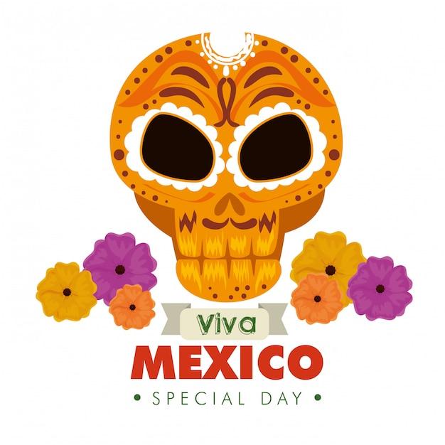 Schedel sierdecoratie met bloemen voor de gebeurtenis van mexico Gratis Vector