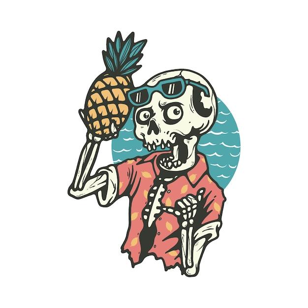 Schedel skelet dood zomer strand illustratie Premium Vector