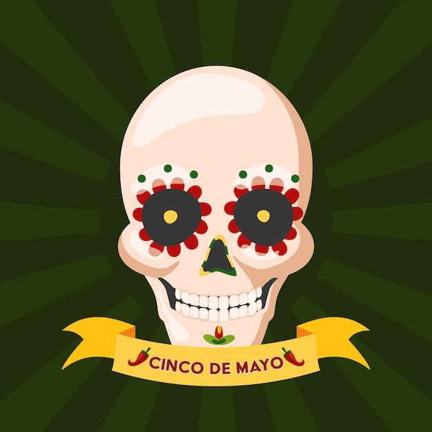 Schedel van mexicaanse cultuur, cinco de mayo, mexico Gratis Vector