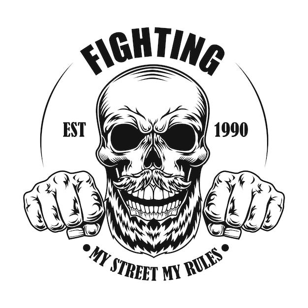 Schedel van straatvechter vectorillustratie. hoofd en vuisten van stripfiguur met tekst Gratis Vector