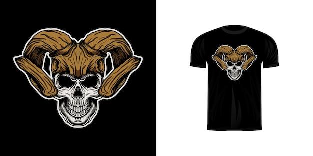 Schedelillustratie met hertenschedelhelm voor t-shirtontwerp Premium Vector