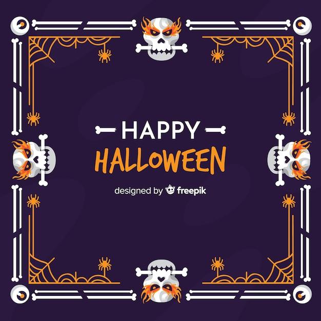Schedels met beenderen halloween frame Gratis Vector