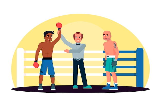 Scheidsrechter kondigt afro-amerikaanse bokser wint in ring aan Premium Vector