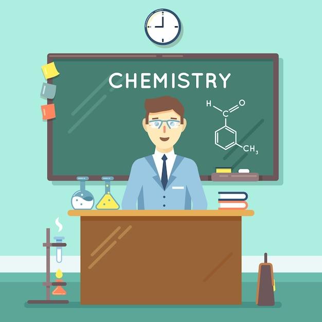 Scheikundeleraar in de klas. schoolwetenschappelijke studie, universitair manonderzoek. vector illustratie platte onderwijs achtergrond Gratis Vector