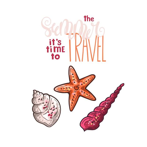 Schelpen schetsen. belettering: in de zomer is het tijd om te reizen. Premium Vector