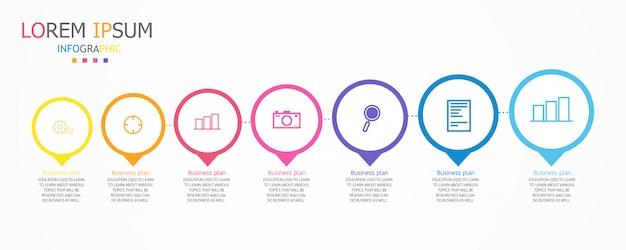 Schema voor onderwijs en bedrijfsleven, ook in het onderwijs, met zeven opties Premium Vector