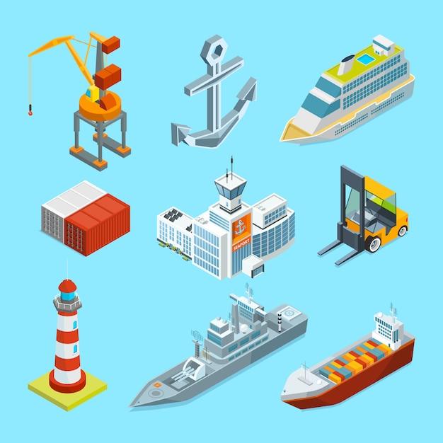 Schepen, boten en zeehaventerminal. vrachtcontainers en kraan voor laden Premium Vector