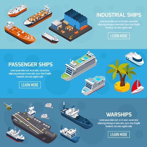 Schepen boten schepen isometrische banners set Premium Vector