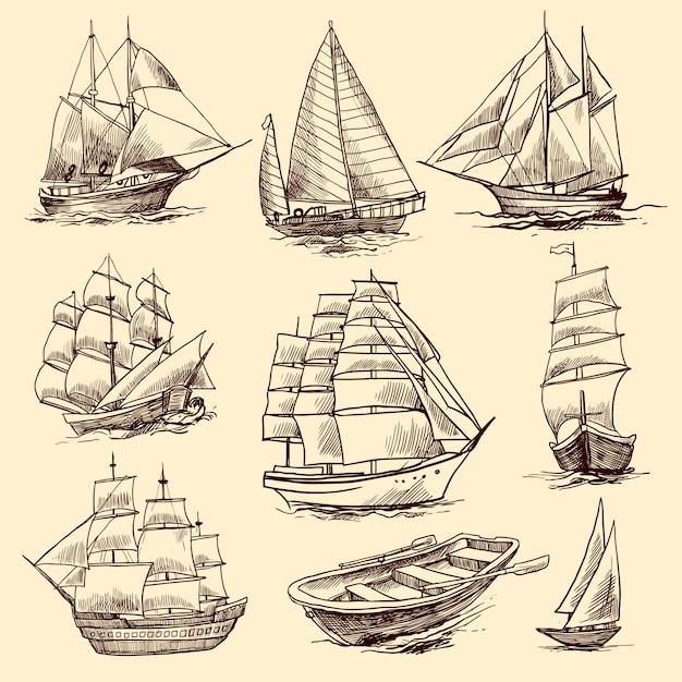 Schepen en boten schetsset Premium Vector