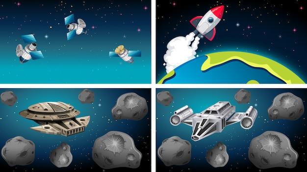 Schepen en satellieten in scène Gratis Vector