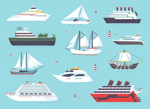 Schepen op zee, scheepvaartboten, oceaan transport pictogrammen instellen Premium Vector