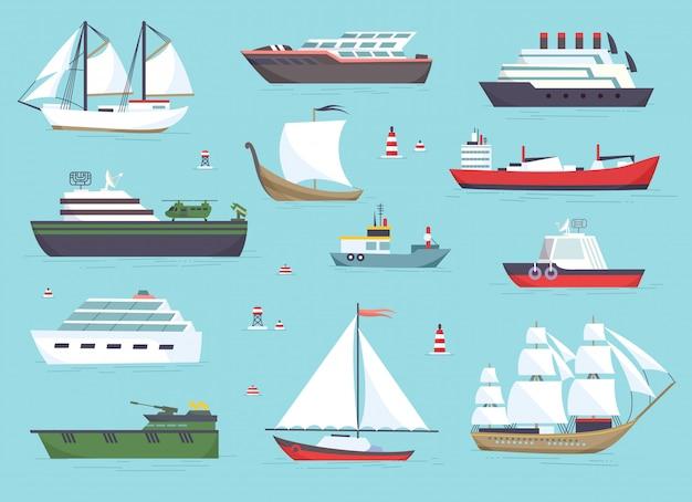 Schepen op zee, scheepvaartboten, oceaan transport vector pictogrammen instellen Premium Vector