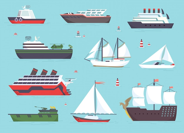 Schepen op zee, scheepvaartboten, oceaan transportset Premium Vector