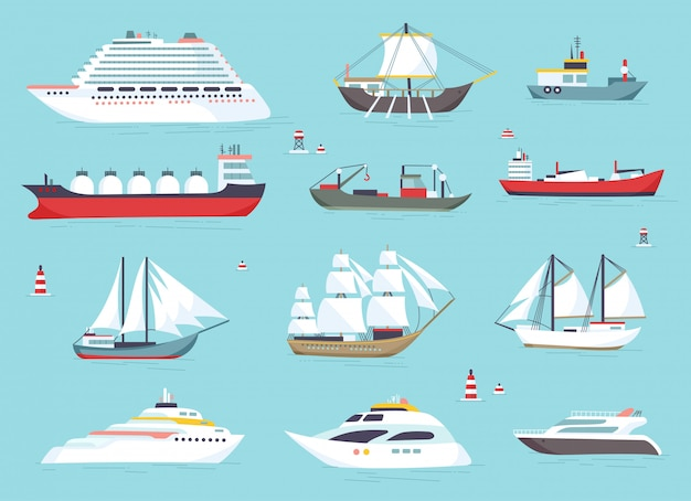 Schepen op zee Premium Vector