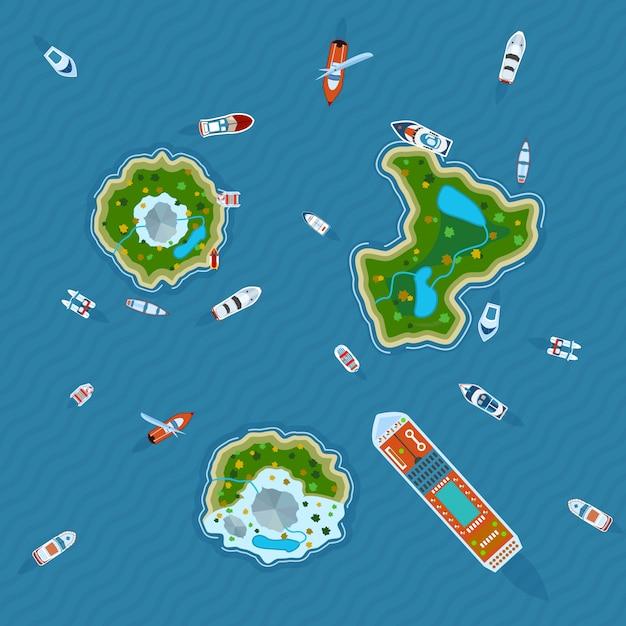 Schepen rond eilanden bovenaanzicht Gratis Vector