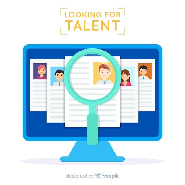 Scherm op zoek naar talent achtergrond Gratis Vector