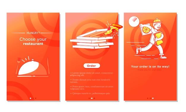 Scherm van de app voor levering van eten Gratis Vector