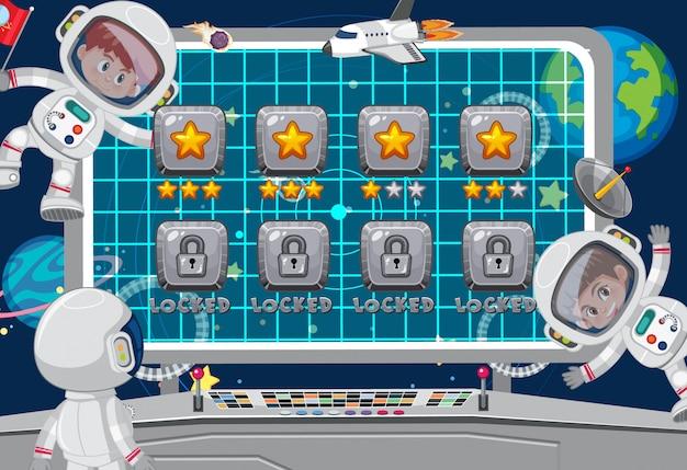 Schermsjabloon voor ruimtethema-spel met astronauten Premium Vector