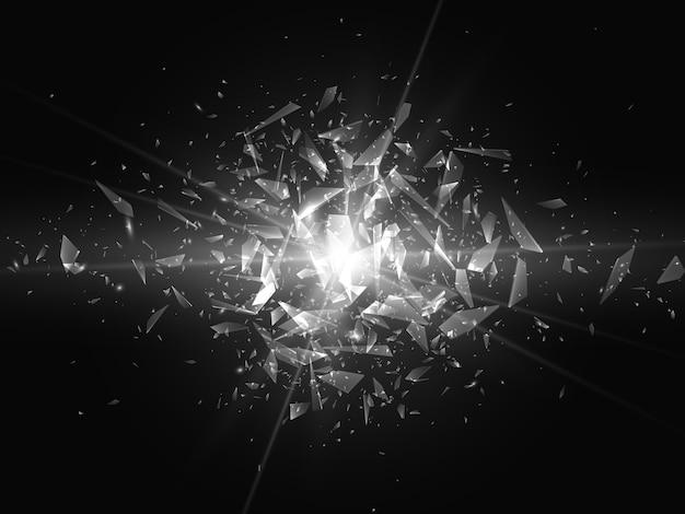 Scherven van gebroken glas. abstracte explosie. achtergrond Premium Vector
