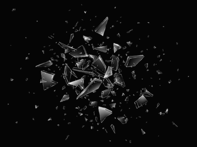 Scherven van gebroken glas. abstracte explosie. realistische achtergrond Premium Vector