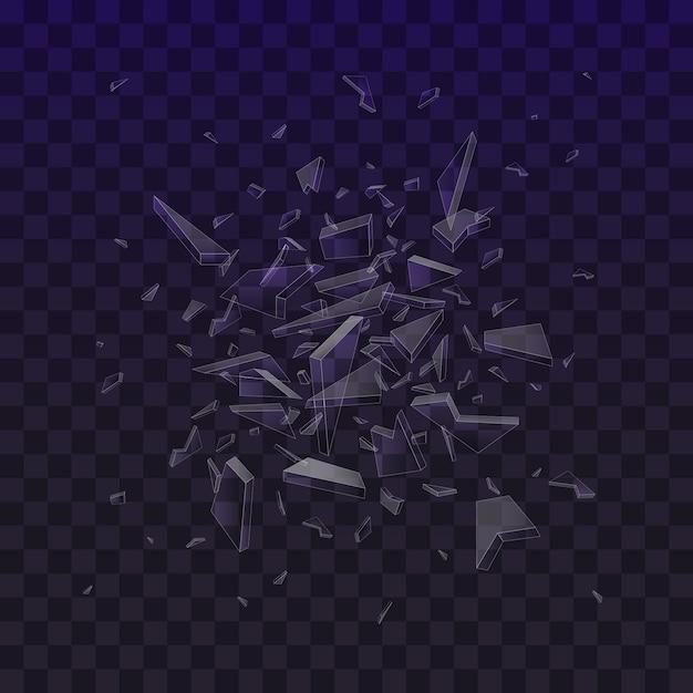 Scherven van gebroken glas. verbrijzelde glasstukken die op zwarte achtergrond worden geïsoleerd. abstracte explosie. Premium Vector