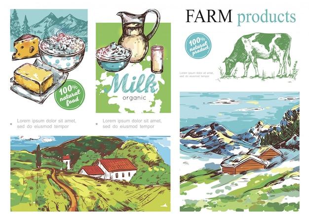 Schets boerderij kleurrijke samenstelling met zuivelproducten koe zomer en winter landelijke landschappen Gratis Vector