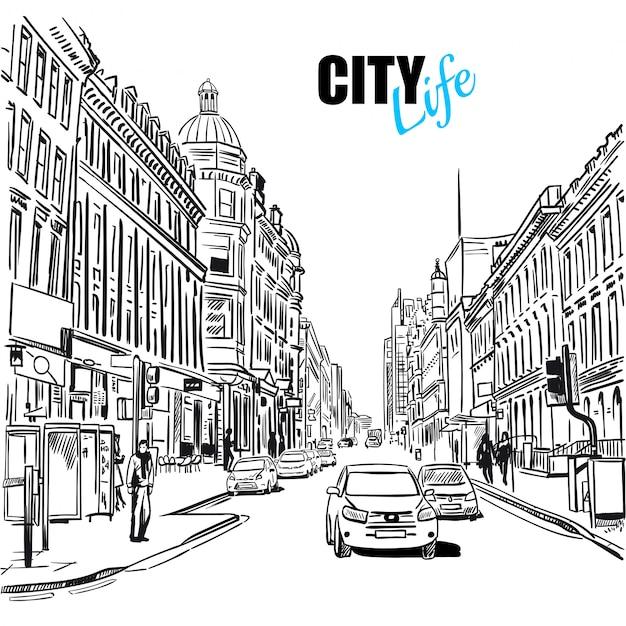 Schets city street illustratie Gratis Vector