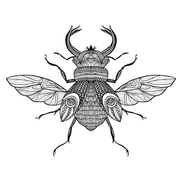 Schets decoratieve bug Gratis Vector