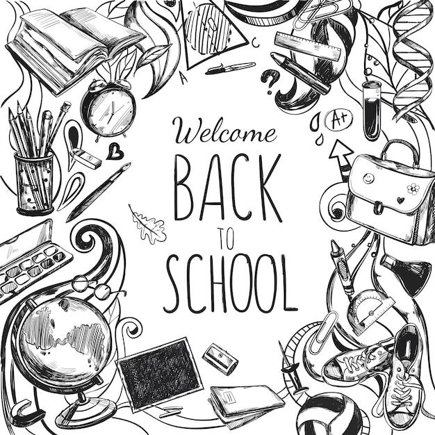 Schets doodles terug naar school frame Gratis Vector