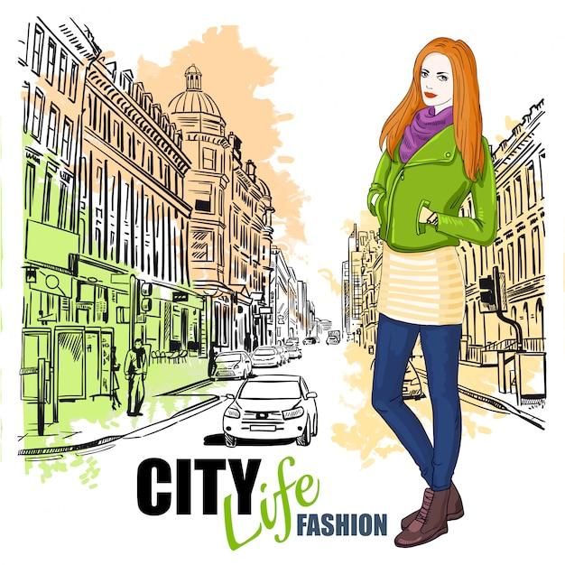 Schets fashion city street poster Gratis Vector