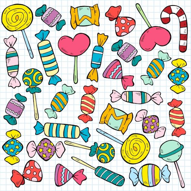 Schets gekleurde snoepjes en lollies patroon Gratis Vector