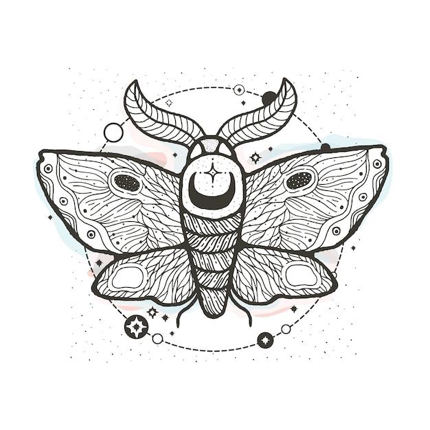 Schets grafische illustratie mooie nachtvlinder met mystieke en occulte hand getekende symbolen. Premium Vector