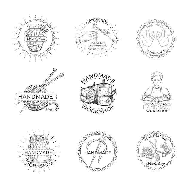 Schets handgemaakte workshop premium kwaliteit handwerkset etiketten Gratis Vector