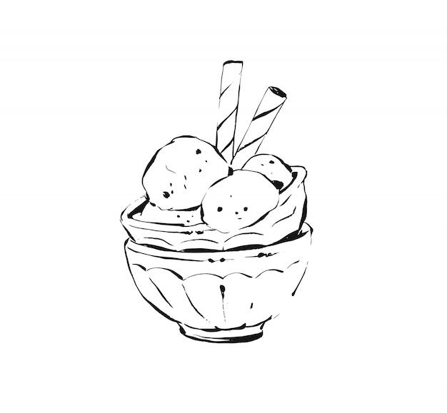 Schets illustratie tekening van ijslepels in glazen beker geïsoleerd op een witte achtergrond. Premium Vector