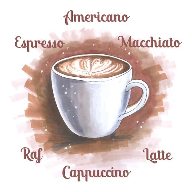 Schets illustratie van een kopje koffie Gratis Vector