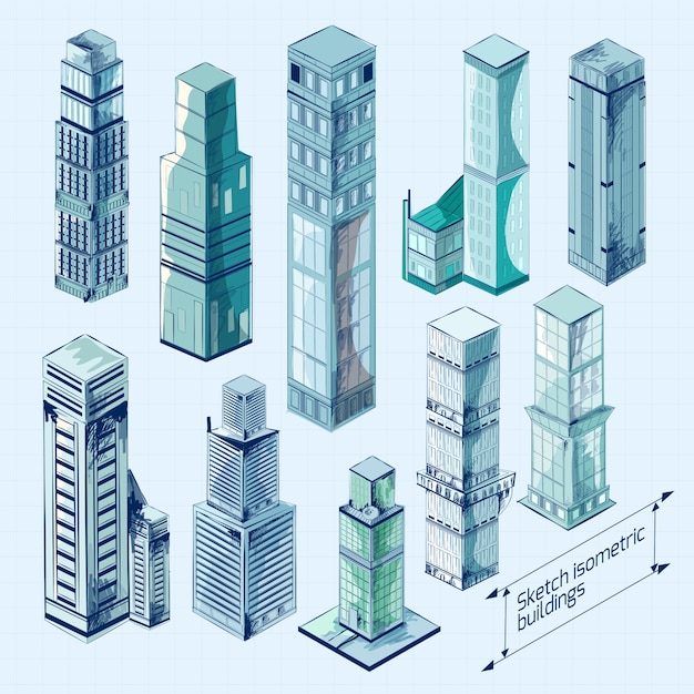 Schets isometrische gebouwen gekleurd Gratis Vector