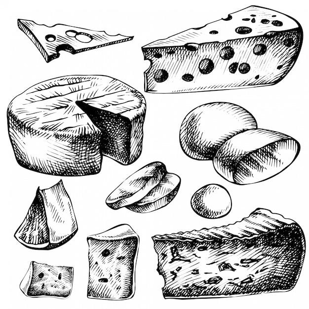 Schets kaas set. hand getrokken inktillustratie van kaassoorten. geïsoleerd op wit Premium Vector