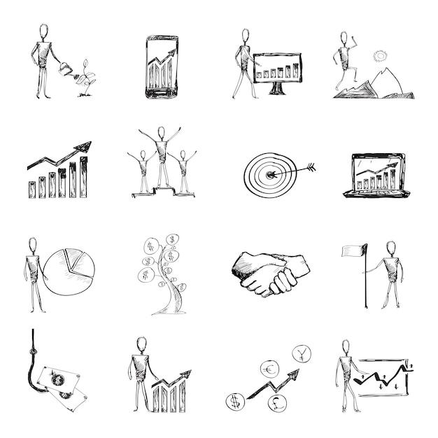 Schets management proces pictogrammen Gratis Vector