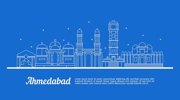 Schets met lineaire skyline van ahmedabad Gratis Vector