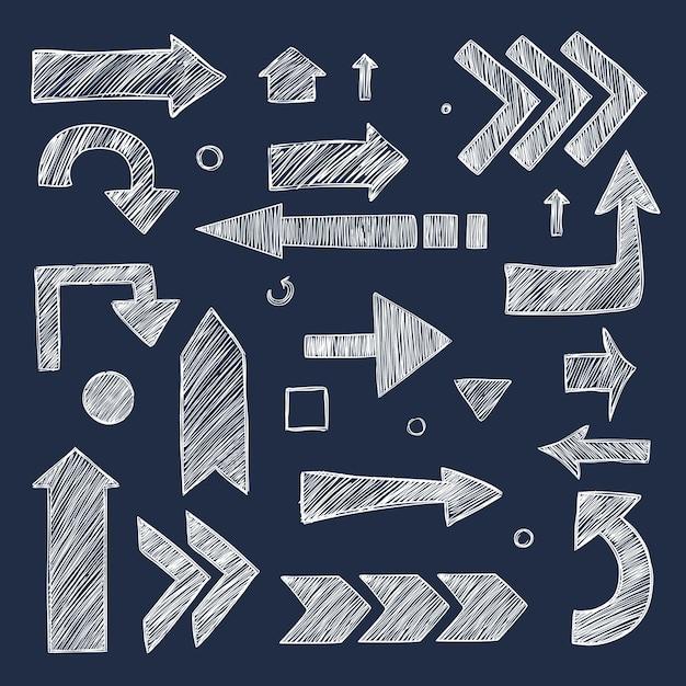 Schets pijlen. hand getrokken krijt afbeeldingen richting symbolen collectie. Premium Vector