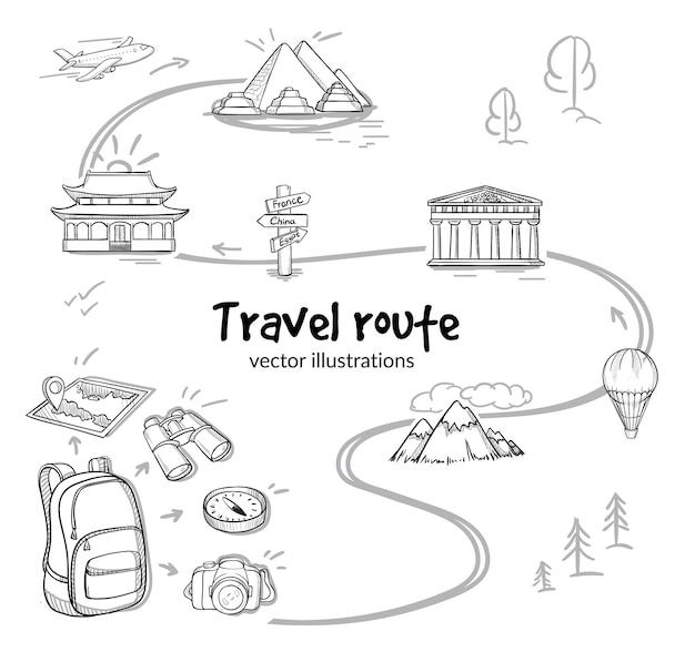 Schets reisroute concept Gratis Vector