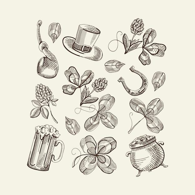 Schets saint patricks day-elementen instellen met hoed klaver bier hoefijzer rookpijp pot met goud geïsoleerde vectorillustratie Gratis Vector