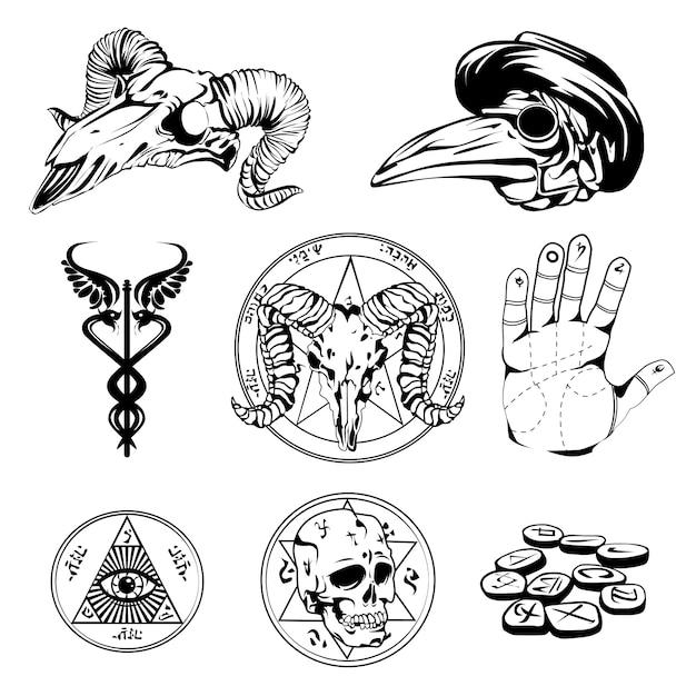 Schets set van esoterische symbolen en occulte attributen Gratis Vector